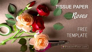 How to make tissue paper Rose flower, free template