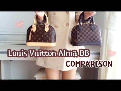 4b83140f8fd6 Louis Vuitton Alma BB Damier Ebene VS Monogram Comparison Review ...