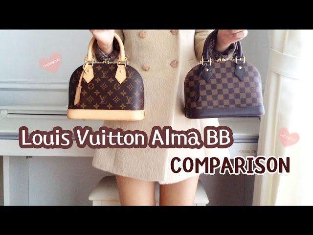 Louis Vuitton Alma Bb Damier Ebene Vs Monogram Comparison Review Youtube