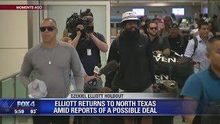 Ezekiel Elliott returns to North Texas amid reports of a possible deal