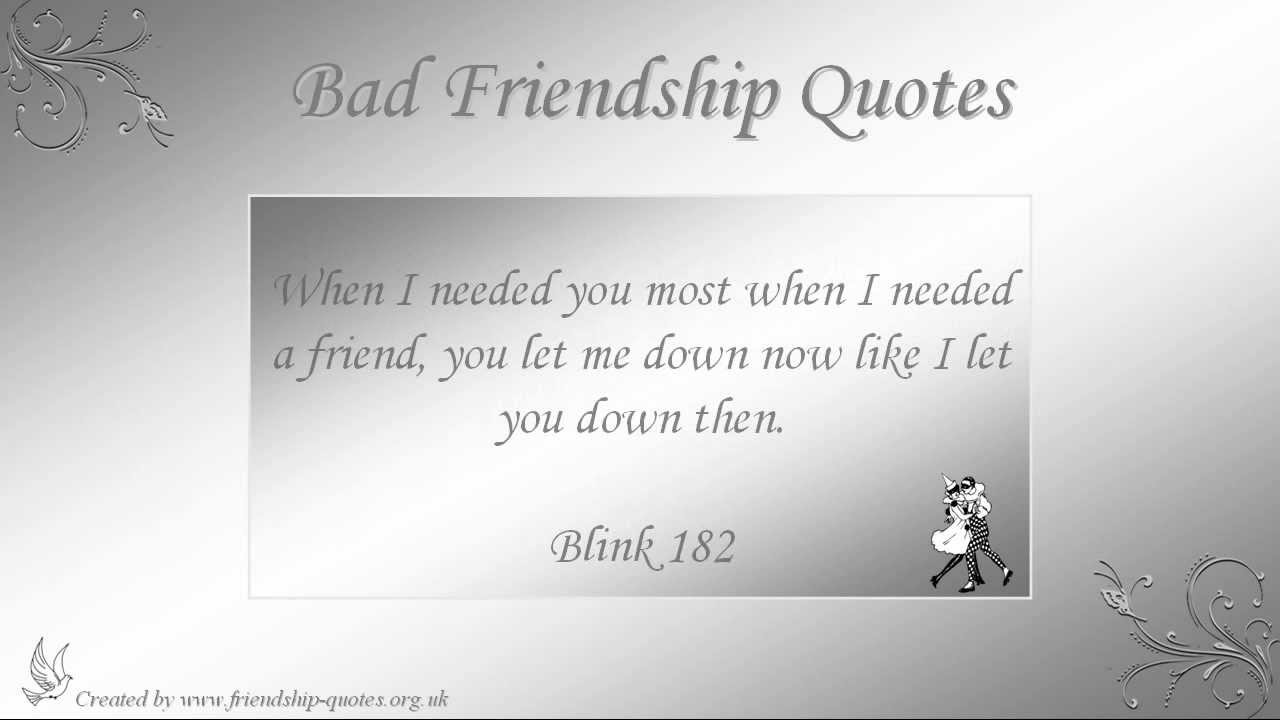 Quotes About Bad Friendships Bad Friendship Quotes  Youtube