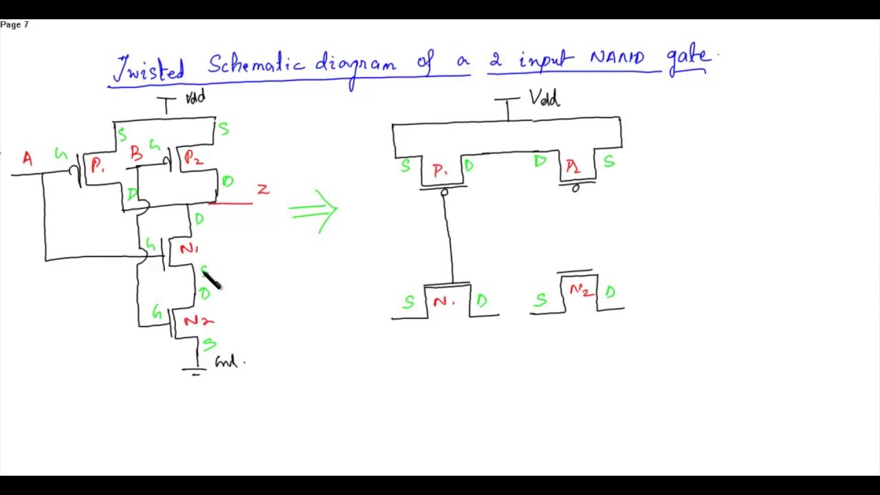 schematic diagram and layout of two input nand gate youtube rh youtube com Nand Gate Symbol CMOS NAND Gate