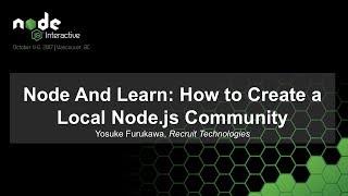 Knoten Und Lernen: Wie das Anlegen eines Lokalen Node.js Gemeinschaft [B]