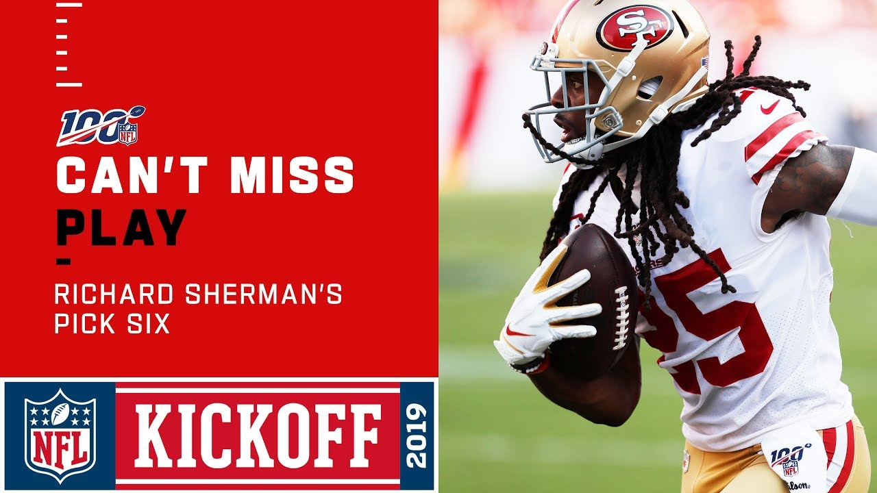 sale retailer 754e9 59740 Richard Sherman Responds with a 49ers Pick 6!