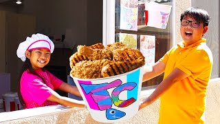 Emma Pretend Play Fried Chicken Drive Thru with Food Toys for Kids