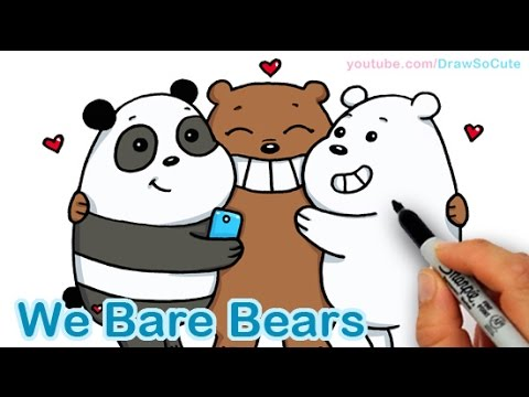 how to draw we bare bears cute step by step panda grizzly