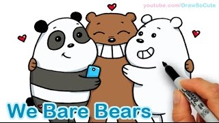How to Draw We Bare Bears Cute step by step Panda Grizzly Ice Bear