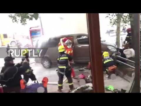 China: At least 18 injured as van ploughs into pedestrians in Shanghai