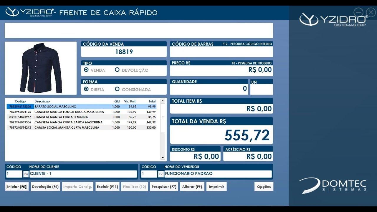 8009d95782cb64 Sistema para Loja de Roupas e Calçados - Yzidro ERP   Domtec Sistemas