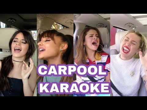Ariana Grande vs Camila Cabello vs Selena Gomez vs Miley Cyrus - Vocal Battle  Carpool karaoke -