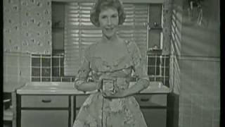 UK TV advert (live!) for Tudor Queen luncheon meat and dress fabric 1960