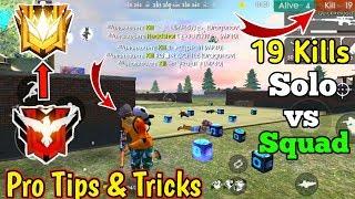 Free Fire Pro Tips & Tricks🔥😳// 19 Kills Solo VS Squad GamePlay🔥😳