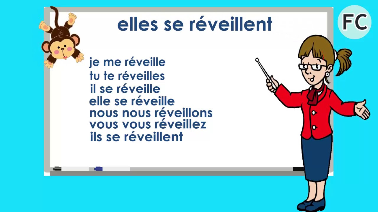 Le Verbe Se Reveiller Au Present To Wake Up Present Tense French Conjugation Youtube