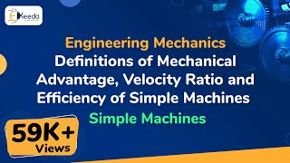 Definitions of Mechanical Advantage, Velocity Ratio and Efficiency of Simple Machines