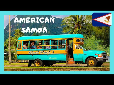 AMERICAN SAMOA, the colourful buses of the island of TUTUILA (SOUTH PACIFIC OCEAN)