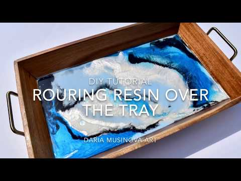 Abstract fluid epoxy resin art pouring on wood tray DIY tutorial