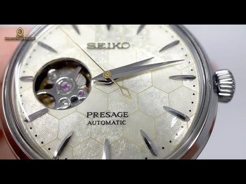 """UNBOXING SEIKO PRESAGE 34MM COCKTAIL TIME """"HONEY COMB"""" WITH OPEN HEART WATCH SSA781J1"""