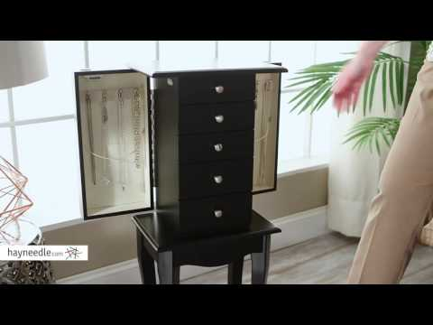 Finley Home Charlotte Black Jewelry Armoire - Product Review Video