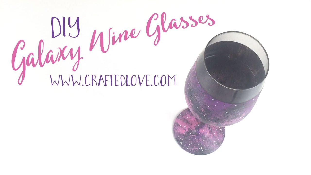 Diy wine glass painting easy galaxy tutorial youtube for Wine glass painting tutorial
