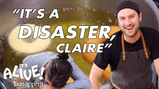 Brad and Claire Make Doughnuts Part 2: The Disaster | It's Alive | Bon Appétit