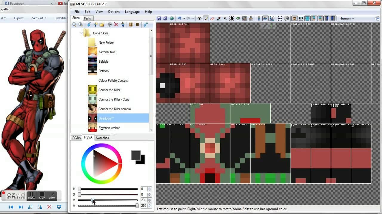 Minecraft Skin Timelapse Deadpool YouTube - Deadpool skins fur minecraft