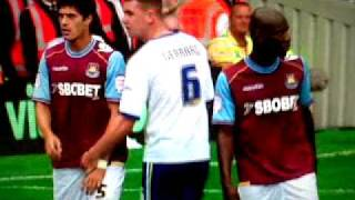 Cardiff City  player  touches West Ham players cock