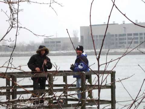 Harry Learns to Fish Niagara River PKWY Fort Erie Dock ON Canada November 25, 2012