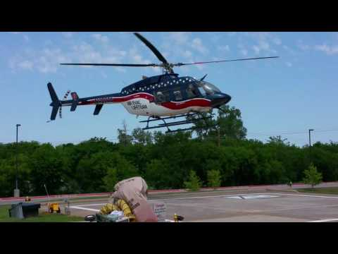 Medical Air -  Evac LifeTeam Helicopter Landing at LGMC Hospital Granbury Texas