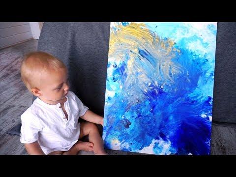 The youngest professional painter in the world. Как нарисовать шедевр с ребенком 6мес+