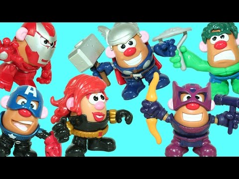 Marvel Heroes Mr. Potato Head Super Pack Black Widow Thor Hawkeye Iron Man & Play Doh Surprise