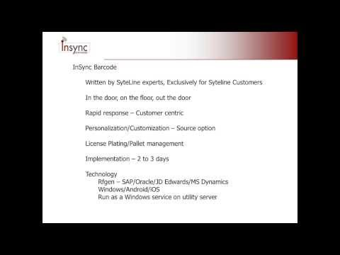 Demo - InSync Barcode Mobile Data Collection for Infor SyteLine ERP Manufacturing Software - Godlan