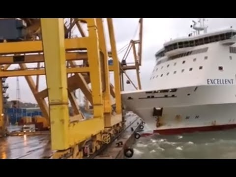 Cruise Ship Crashes at Barcelona Port