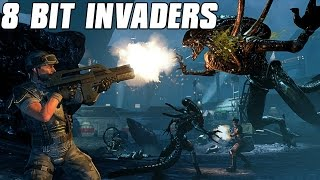 8-Bit Invaders Multiplayer Gameplay 2v2 - Colonial Marine Attack