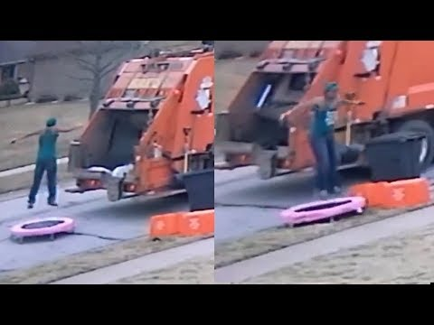 Jason Hurst - Garbage Man's Trampoline Session Was Caught on Camera