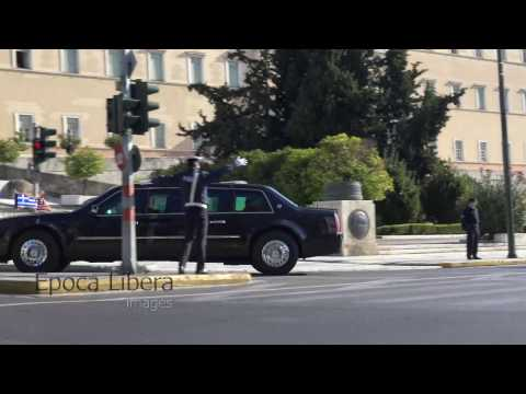 President Obama massive Motorcade in Athens Greece 2016
