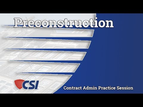 Intro to Construction Contract Administration - Chapter 3: Preconstruction