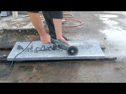 Резка Каплеотводов на гранитной облицовочной плитке. Тест Алмазного диска для резки камня (гранита)