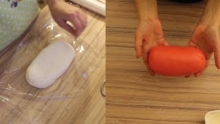 Marshmallow Fondant selber machen und farbigen Fondant herstellen Schritt für Schritt