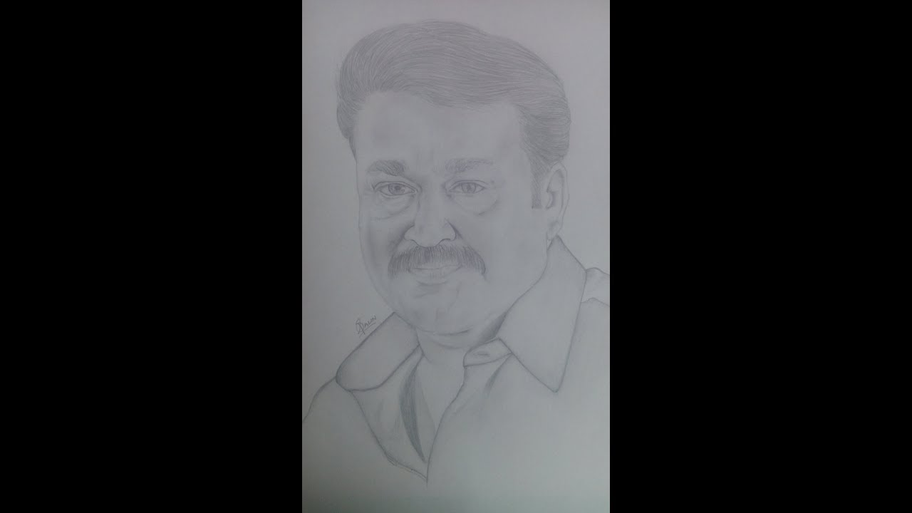 Mohanlal pencil drawing realistic sketch