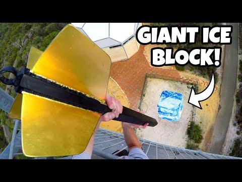GIANT DART Vs. GIANT ICE BLOCK from 45m!