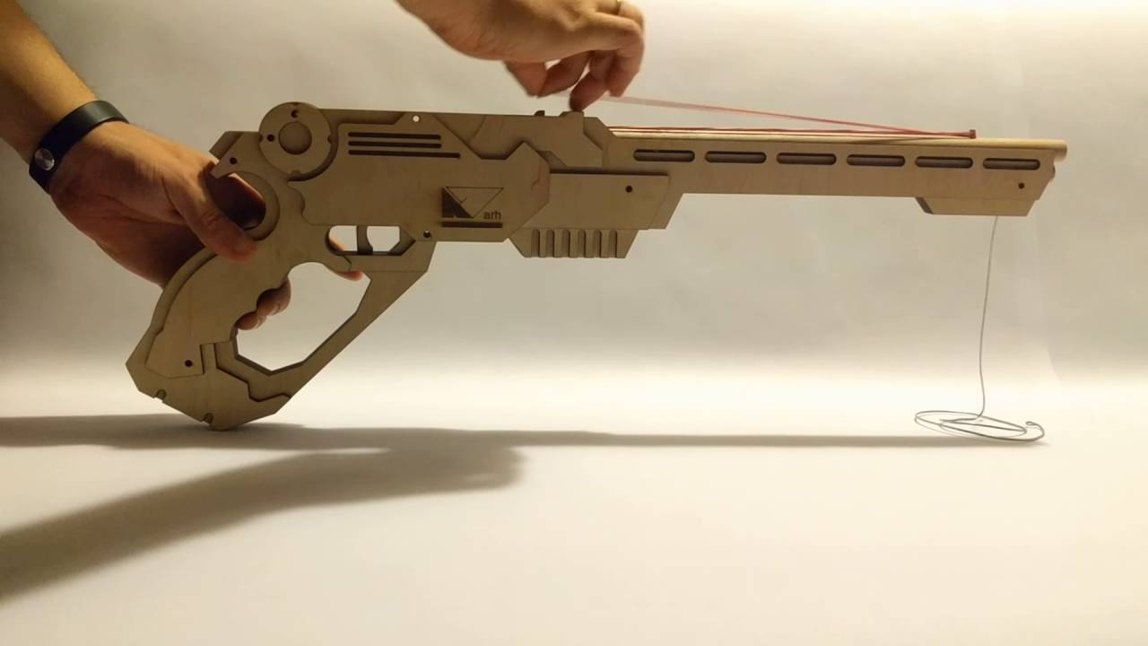 Laser Cut Rubber Band Gun Youtube