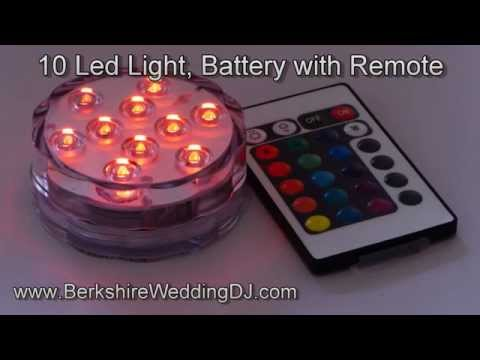10 LED Submersible Battery Powered Light with Remote