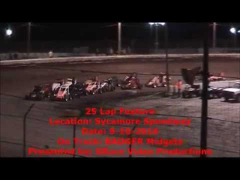 Sycamore BADGER 25 Lap Feature 9-10-2016
