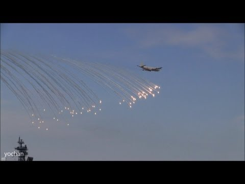 P-3 Orion Maritime patrol aircraft.Demonstration Flight (Depth charge+Flare) Fleet Review