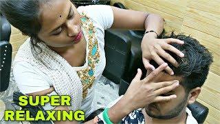 Head, face & Shoulder massage by barber girl | Indian ASMR
