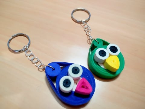 DIY : How to make paper quilling key chain (angry birds pattern)