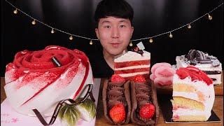 [SUB]투썸 장미요거트,레드벨벳, 아이스박스 케이크 먹방 (Rose yogurt, red velvet, o…