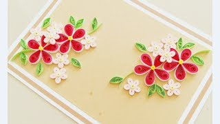 Paper quilling Flower Card Design // Quilling Card