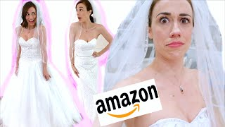 TRYING ON WEIRD AMAZON WEDDING DRESSES!