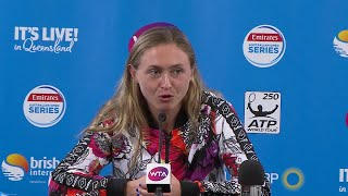 Aliaksandra Sasnovich press conference (SF) Brisbane International 2018